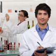 A couple in a laboratory. — Stock Photo