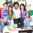 Friends supporting the Italian football team — Stock Photo