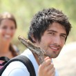 Young couple hiking — Stock Photo #7749773