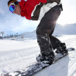 Adrenaline junkie snowboard down hill — Stock Photo #7749908