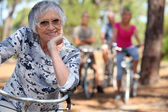 A bunch of old lady biking. — Stock Photo
