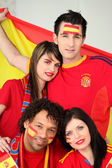 A group of friends supporting the Spanish football team — Stock Photo