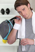 Man with bag in gym — Stock Photo