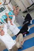 A yoga workout — Stock Photo