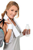 Woman returning from gym — Stock Photo