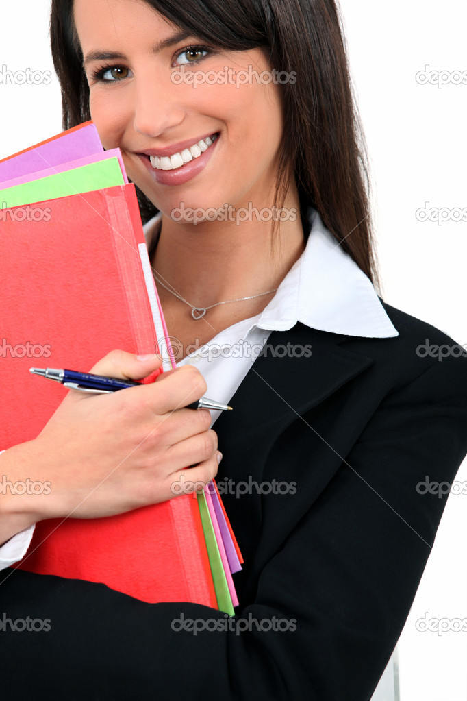 Professional woman with folders — Stock Photo #7742383