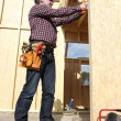 Woodworker on a construction site — Stock Photo #7750294