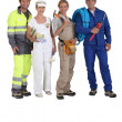 Four workers in different trades — Stock Photo