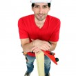 Craftsman holding a board and a rasp — Stock Photo