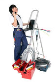 Confident woman electrician — Stock Photo