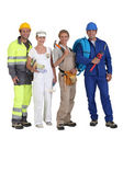 Four workers in different trades — Stockfoto