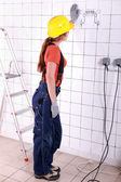 Back view of an electrician — Stock Photo