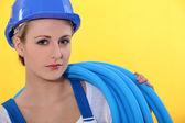 A female plumber. — Stock Photo