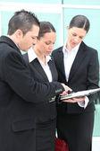 Three colleagues debating — Stock Photo