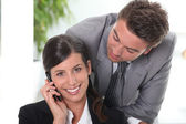 Man flirting with his colleague — Stock Photo