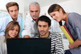 Group of watching a screen — Stock Photo