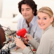 Womsoldering television — Stock Photo #7780277