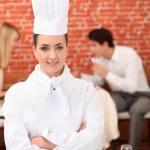 Chef ficou na frente duas refeições — Foto Stock