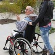 A young woman pushing senior woman in wheelchair — Stock Photo
