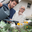 Young man watering plants with older woman — Stok fotoğraf