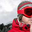 Closeup of a man in ski goggles - Stock Photo
