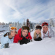 Portrait of a friends on a skiing holiday together — Stock Photo