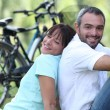 Couple on bike ride — Stock Photo