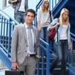 College students and young professor — Stock Photo