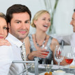 Couple at a dinner party — Stock Photo