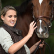 Young woman caressing a horse - Stock Photo
