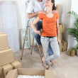 Stock Photo: Couple moving in their new apartment