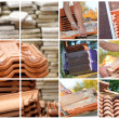 Stock Photo: Mosaic of terracottroof tiles