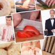 Stock Photo: Food preparation themed collage
