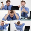 Collage of a frustrated man — Stock Photo