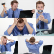Stock Photo: Collage of a frustrated man