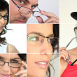 Men and women wearing glasses — Foto Stock