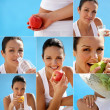Stock Photo: Pretty womhaving balanced diet