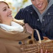 Couple gathering chestnuts - Stock Photo