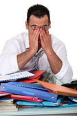Office worker working overtime — Stock Photo