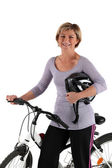 Blonde all smiles with bike — Foto Stock
