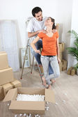 Couple moving in their new apartment — Stock Photo