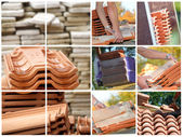 Mosaic of terracotta roof tiles — 图库照片