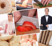 Food preparation themed collage — Stock Photo