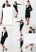 Collage of a businesswoman holding a blank sign — Stock Photo