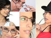 Men and women wearing glasses — Stock Photo