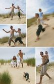 A family running in the dunes — Stock Photo