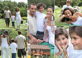Collage of a family having a picnic — Stock Photo