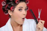 Kadın bir makyaj elde — Stok fotoğraf