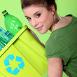 Young housewife waste sorting — Stock Photo