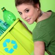 Stock Photo: Young housewife waste sorting